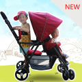 New Arrives Twins Baby Stroller Car  Shockproof Universal Baby Trolley Two Seat Folding Easy Baby Cart Free Shipping