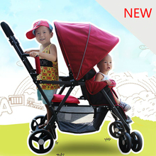 New Arrives Twins Baby Stroller Car Shockproof Universal Baby Trolley Two Seat Folding Easy Baby Cart