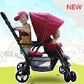 Novo Chega Gêmeos Carrinho De Bebê Carrinho de Bebê À Prova de Choque Universal Dois Dobrável Do Assento de Carro Carrinho de Bebê Fácil Frete Grátis