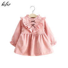 Autumn Spring Baby Girls Long Sleeves Corduroy Pink Dress Fashion Bowknot Birthday Party Princess