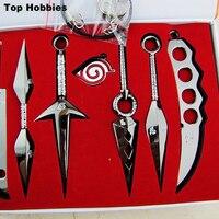 Anime Naruto Kunai Ostrze Pęku Kluczy Shuriken Nóż Miecz Wisiorek Cosplay Prop 7 Sztuk/zestaw rzucanie naruto Broń Miecz Nóż Czarny