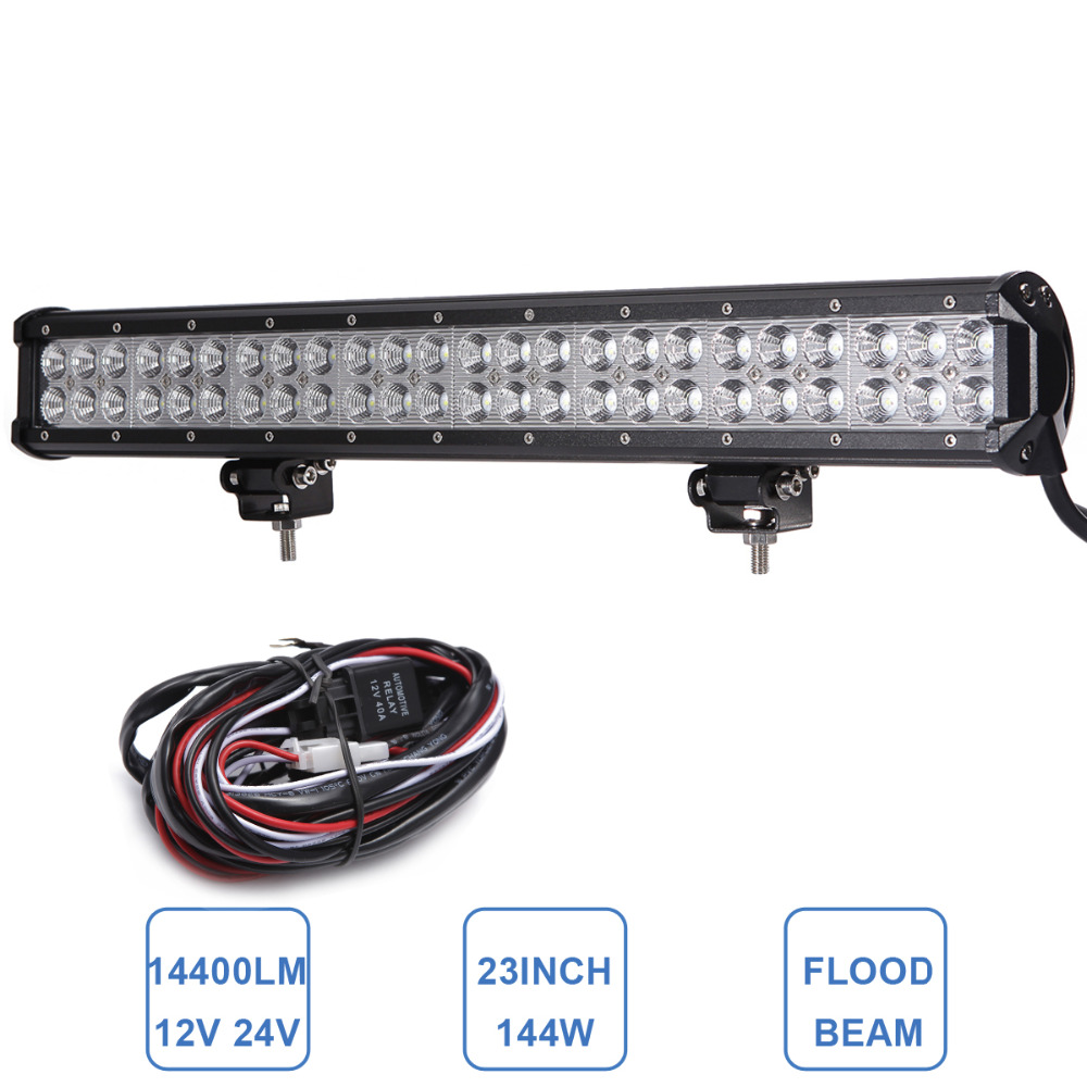 23 Inch 144W Offroad LED Light Bar Headlight SUV Truck Trailer ATV UTE Boat Wagon UTV Tractor 4X4 4WD Auto Driving Lamp 12V 24V