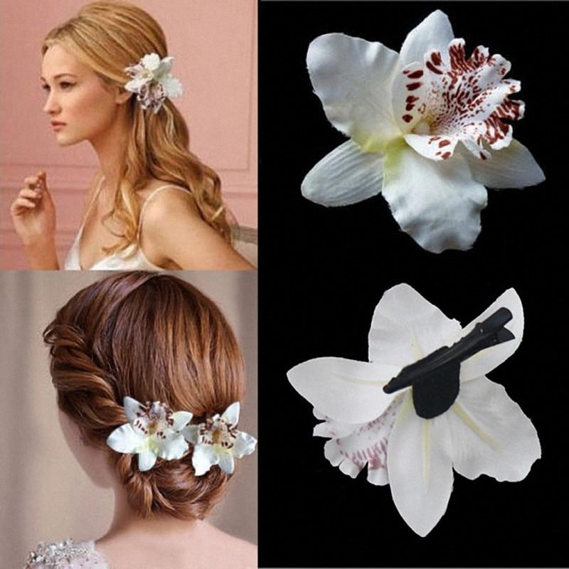 Free Women Summer Bohemia Beach Thai Lily Orchid Flower Hair Clip Bridal Wedding Headwear Holiday Hair Ornaments Accessories