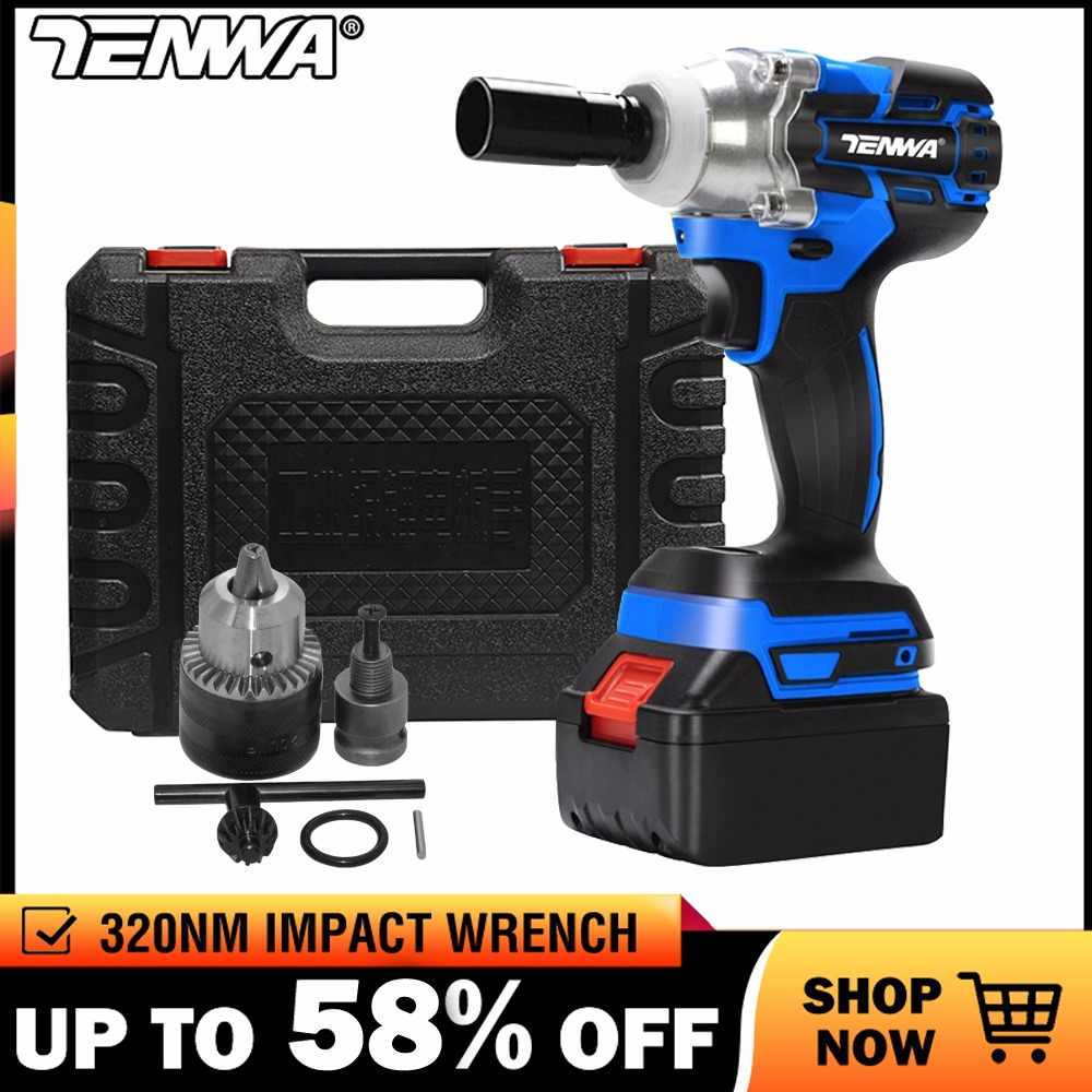 TENWA Impact Wrench Electric Wrench Brushless Socket Wrench 21V 4000mAh Li Battery Hand Drill Installation Power Tools