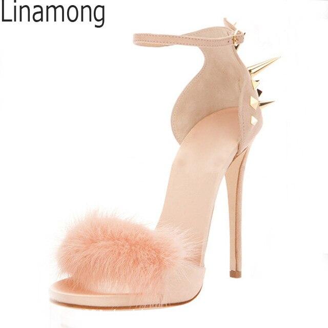 Copertura Rabbit Spike Estate Pink Rivetti A Fibbie Fur black Sandali Studs Tacco Cinturino Sexy Alti Abito white Tacchi Spillo Donne Scarpe Vere Via AwIqaA0E