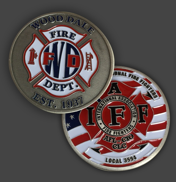 <font><b>1937</b></font> FD - Wood Dale Fire Dept - IAFF - Fire Challenge <font><b>coin</b></font>, bronze round <font><b>coins</b></font>, NEW* DHL free shipping image