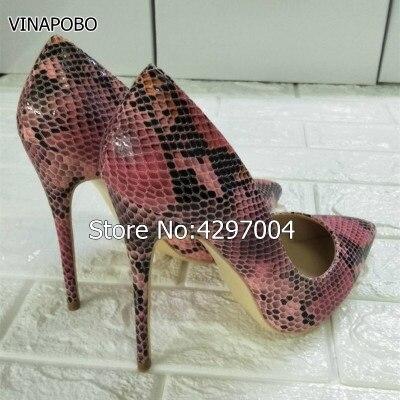 VINAPOBO Sexy peau de serpent Style Super haut 12 cm femmes pompes respirer librement confortable chaussures à talons hauts pour robe de soirée grande taille