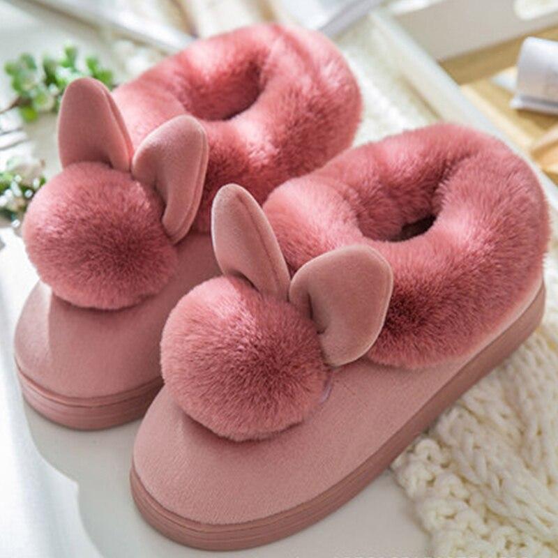 100% QualitäT Frauen Hausschuhe Niedlichen Kaninchen Pelzigen Plüsch Winter Schuhe Neue Damen Slip Auf Komfort Haus Schuhe Plus Größe Weibliche Warme Weiche Schuhe