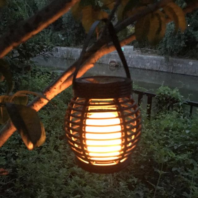 Flamme En Rotin Solaire Lampe Lumière Étanche Extérieur 51 Lanterne Led Yard Maison Jardin Intérieur Suspension Cage Plastique GLSUzMqVp