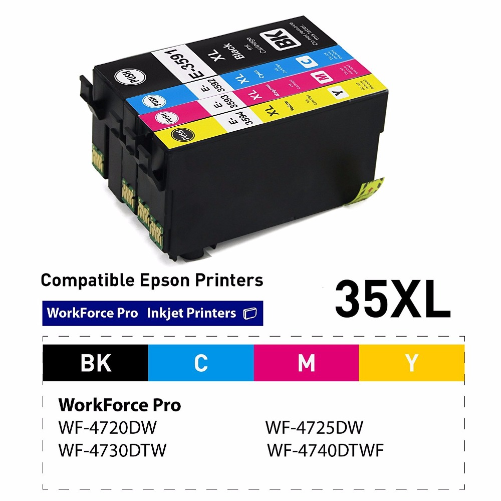 XIMO 1 Set 35 XL 4 Pack Ink Cartridges Compatible for WorkForce Pro WF 4740DTWF WF