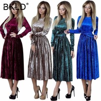 BKLD 2018 Womens Autumn Winter Robe Velours Elegant Vintage Velvet Belted Solid Long Sleeve Club Party Pleated Dress With Sashes