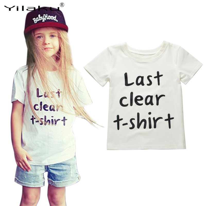 High Quality White Girls Cotton shirts Letter Girl Tops Short Sleeve Casual Girls T-shirts 1~6 Y Kids Clothes CG065