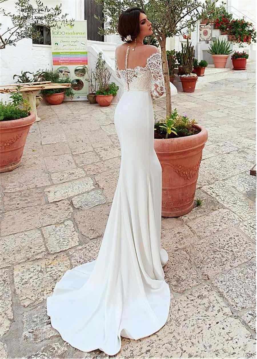 Chiffon E Cetim Trem Tribunal Colher Assoalho-comprimento Zipper da Luva do Tampão Sexy Sereia Do Vestido de Casamento 2019 Plus Size Luxo vestido de noiva