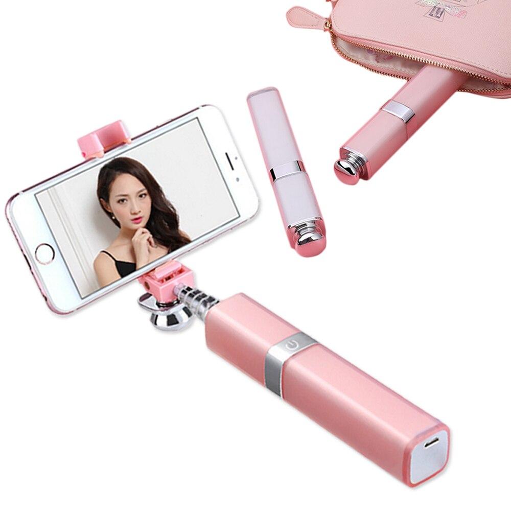 Fashion Lipstick Aluminum Bluetooth Wireless Selfie Stick for iPhone 7 plus 6 6s iOS Samsung Android Huawei Smartphone mini waterproof wireless bluetooth speaker for iphone 6 6s plus smartphone