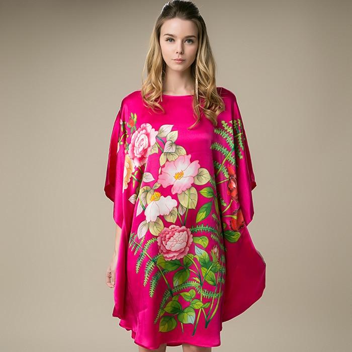 Silk Satin Dress 100% Natural Mulberry Silk Women Dresses Plus Size Home Dress Handmade Painting Dress Factory Direct Wholesale
