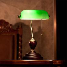 Emerald Green Glass Table Light Power Bank Desk Lamp Office Red Wood Lampe Vintage E27 Reading Lamps Industrial Retro retro chinese style old shanghai table lamp emerald green bank office desk lamps vintage student reading lamp e27 book light