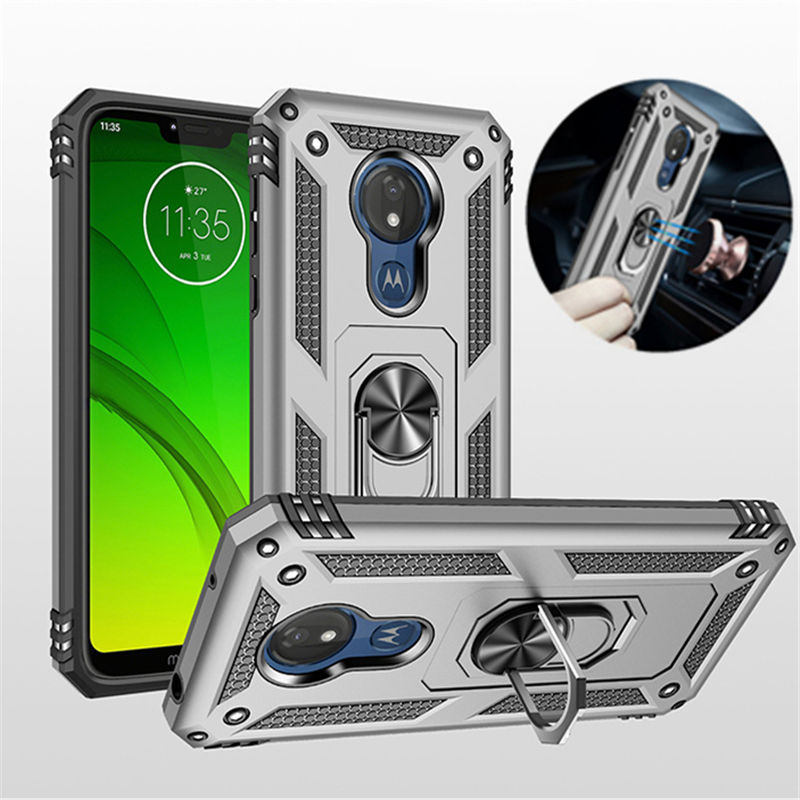 For Motorola Moto G6 G7 Plus G7 Power Case Armor Magnetic Ring Stand Holder Cover for Moto G6 G7 Play E5 E6 Plus Silicone Case