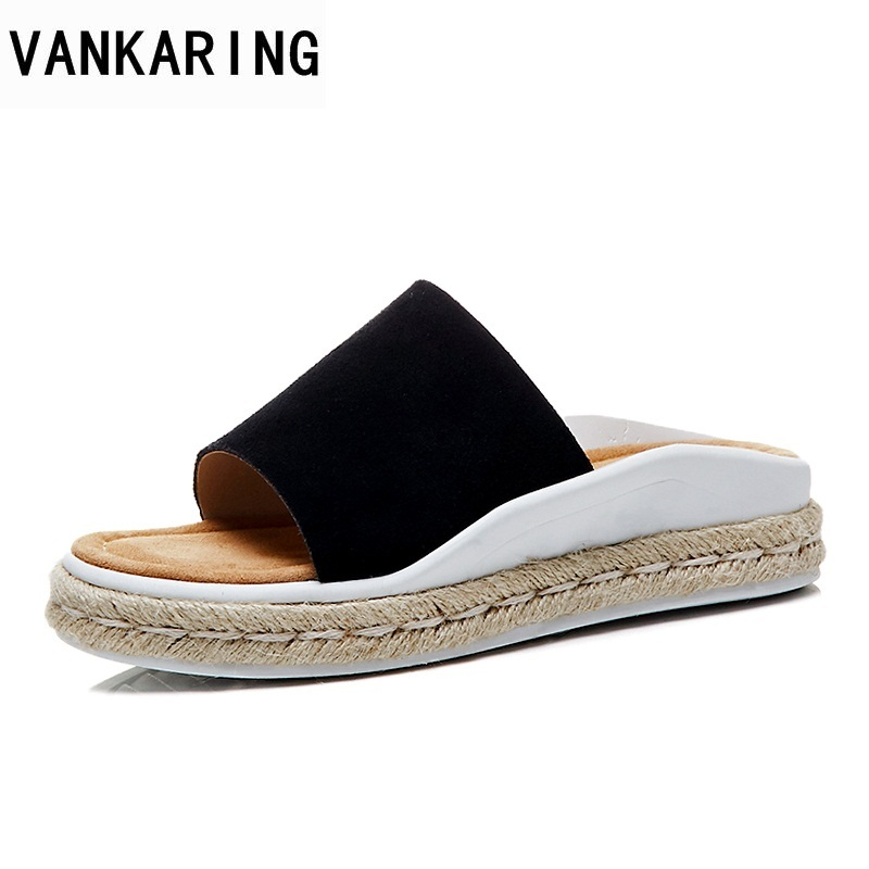 VANKARING shoes woman summer slippers hot casual date sandals 2018 new open toe platform sandals ladies genuine leather slippersVANKARING shoes woman summer slippers hot casual date sandals 2018 new open toe platform sandals ladies genuine leather slippers