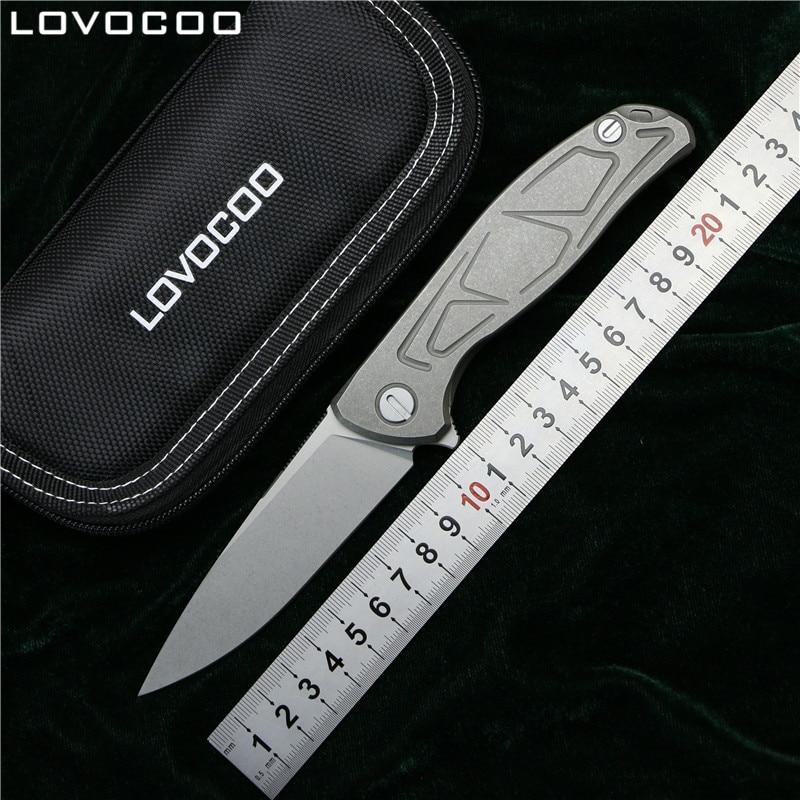 LOVOCOO NEW TOP F95 Flipper folding knife D2 steel TC4 Titanium S pattern handle camping hunting
