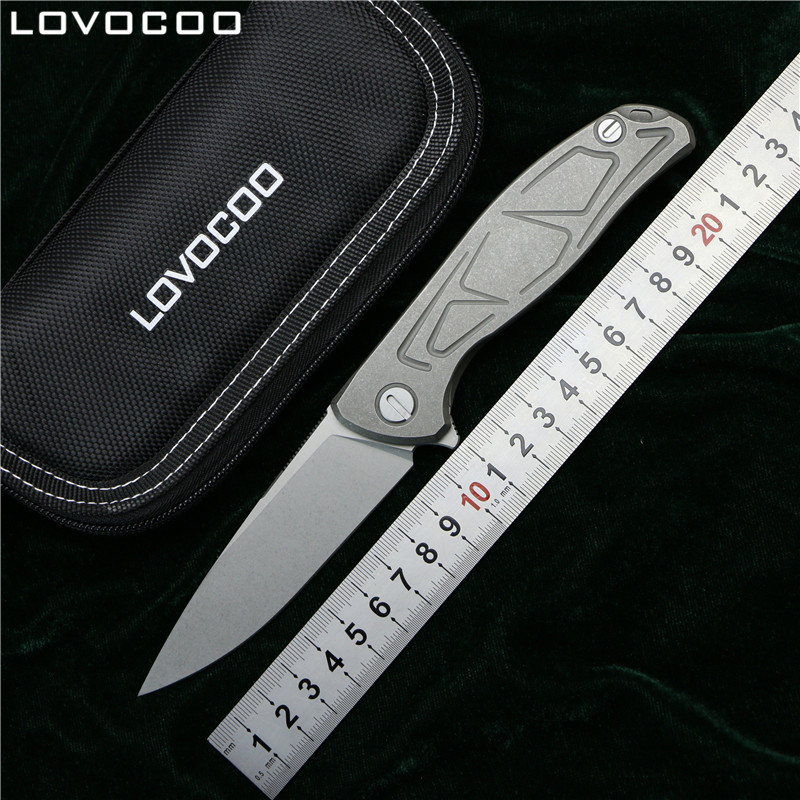 LOVOCOO NEW TOP F95 Flipper folding knife D2 steel TC4 Titanium S pattern handle camping hunting pocket kitchen knives EDC tools-in Knives from Tools    1