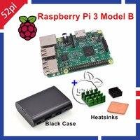 52Pi Raspberry Pi 3 Model B 1 2GHz 1GB RAM WiFi Bluetooth Heatsinks ABS Black Case