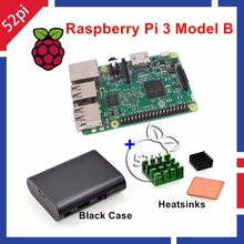 52Pi Raspberry Pi 3 Model B 1.2GHz 1GB RAM WiFi & Bluetooth + Heatsinks + ABS Black Case