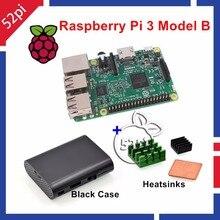 Sale 52Pi Raspberry Pi 3 Model B 1.2GHz 1GB RAM WiFi & Bluetooth + Heatsinks + ABS Black Case