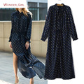 2017 New Arrival Women's Spring Clothing Full Sleeve Ruffles Dots String Female Slim Sexy Fashion Chiffon Long Straight Dress