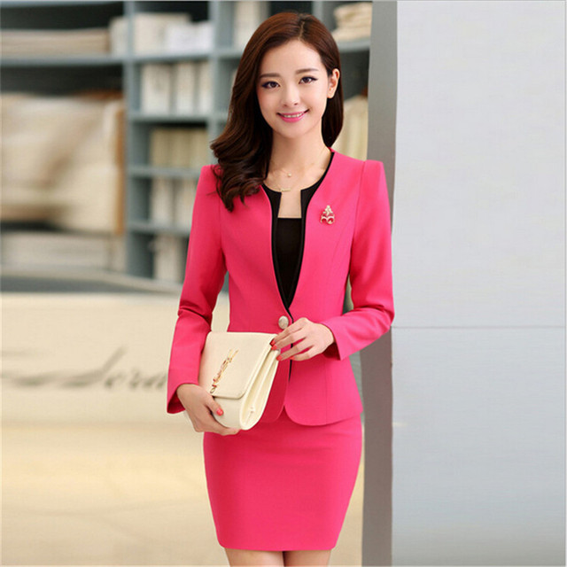 Plus Size Candy Color Skirt Suits Summer Style 2016 Women Business