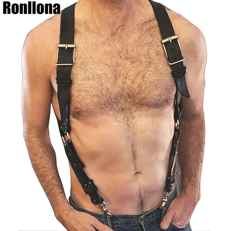 Body Harness <font><b>Leather</b></font> Suspenders <font><b>Men</b></font> <font><b>Sexy</b></font> Garters Bondage Outfit Rave Adjustable <font><b>Leather</b></font> <font><b>Belt</b></font> <font><b>Men</b></font> Chest Harness Body Cage Punk image