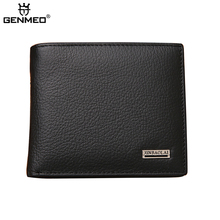 GENMEO New Arrival Genuine Leather Wallets Men Cow Leather Purse with Card Holders Men Clutch Bag for Cards and Money Bolsa цена в Москве и Питере
