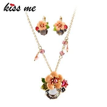 KISS ME Chic Enamel Flower Jewelry Set Wholesale Fashion Women Dangle Earrings Long Pendant Necklace Women Accessories