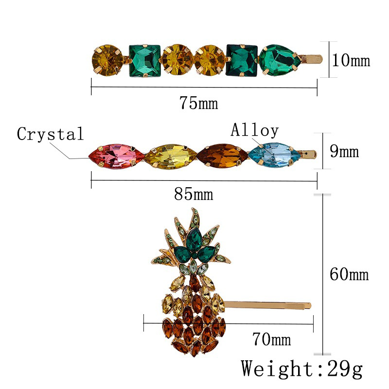 Za fruit pineapple hair clip women girls bobby pins crystal barrettes wedding bridal jewelry japanese fashion accessories T34 in Hair Jewelry from Jewelry Accessories