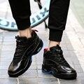 Мужчины Повседневная Обувь Высокий Верх Мода ИСКУССТВЕННАЯ Кожа Плоским Легкие Тренеры Корзина Homme Zapatillas Hombre Черный Спорт Мужская Обувь
