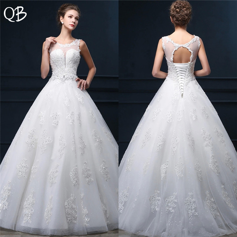 Custom Made Ball Gown Lace Beaded Sequins Crystal Belt Wedding Dresses Long Formal Elegant New 2019 Wedding Gowns DW64