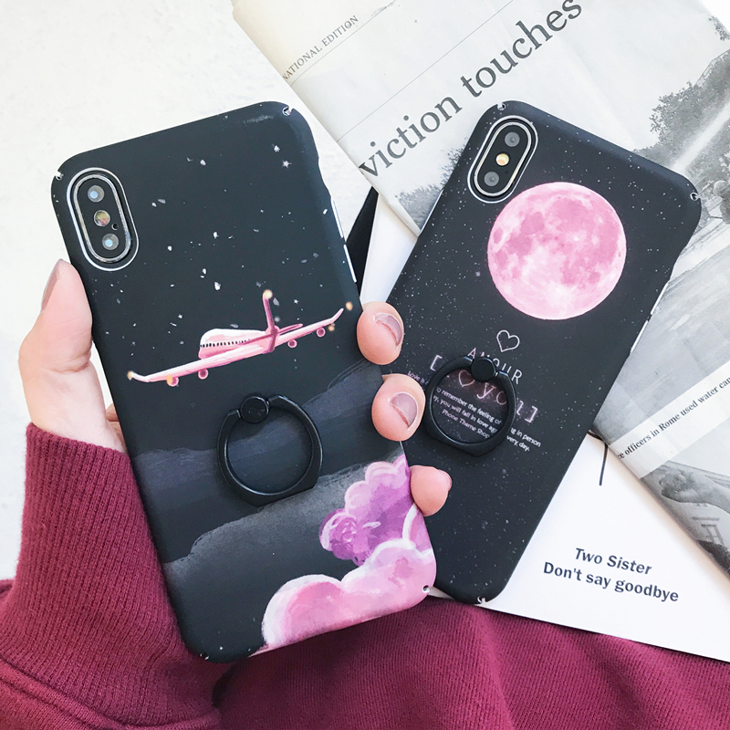 With 360 Phone Ring For Iphone 6S Case 3D Starry Sky Aircraft Moon Star Hard PC Stand Cover For Iphone X 6 6S 7 8 Plus Case