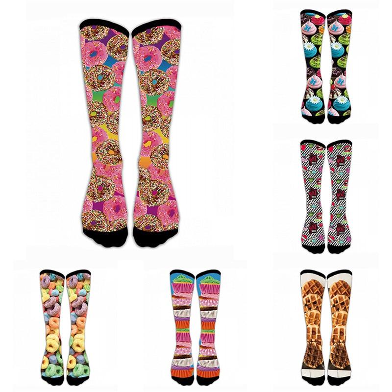 Lattice Fabric Compression Socks For Women 3D Print Knee High Boot