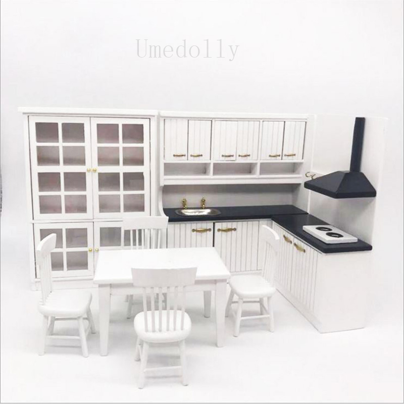 1:12 Dollhouse Miniature Bedroom Furniture House Table Cabinet Side Wall Wood