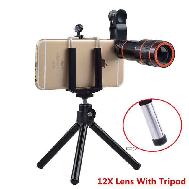 Universal 6 in 1 tripod 12X Zoom Telescope Fisheye Wide Angel Macro Lens For iPhone 6 7 Samsung S8 S7 android smartphone 12DG3 4