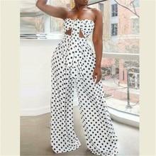 Boho New Sexy Women Two Piece Set Crop Top Long Pant Dot Leo
