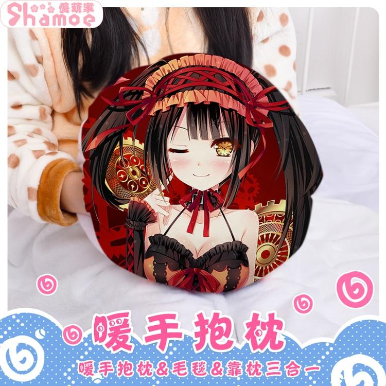 Cute Anime DATE A LIVE Tokisaki Kurumi Cosplay Round Plush Doll Cushion Hand Warmer Pillow Stuffed Toys Christmas Gift