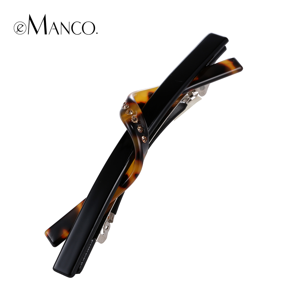 Long cellulose acetate barrette acrylic hair clip new launch rhinestone wave thin barrettes girls hair jewelry eManco