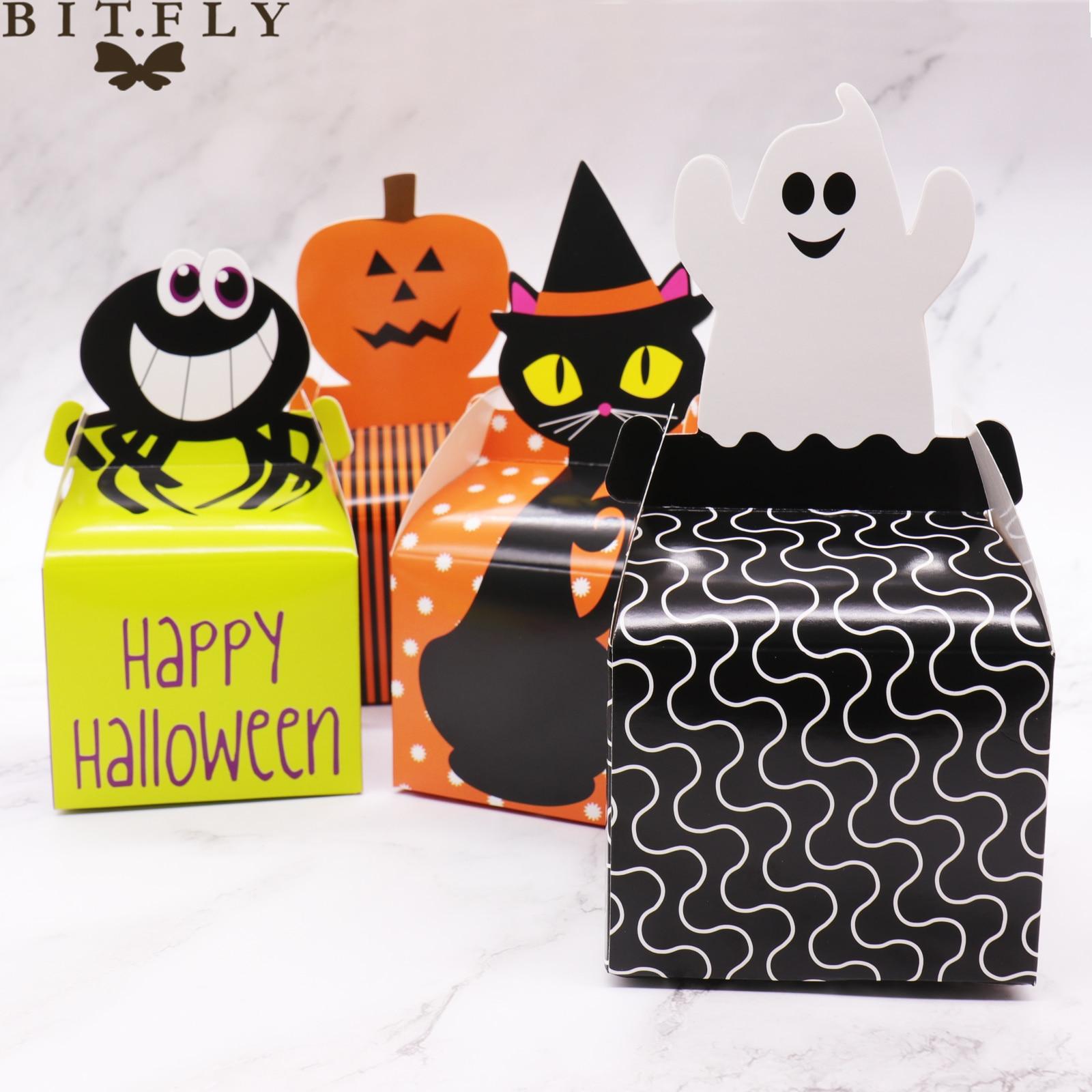 10pcs Ghost festival Cat spider Ghost pumpkin candy box Halloween