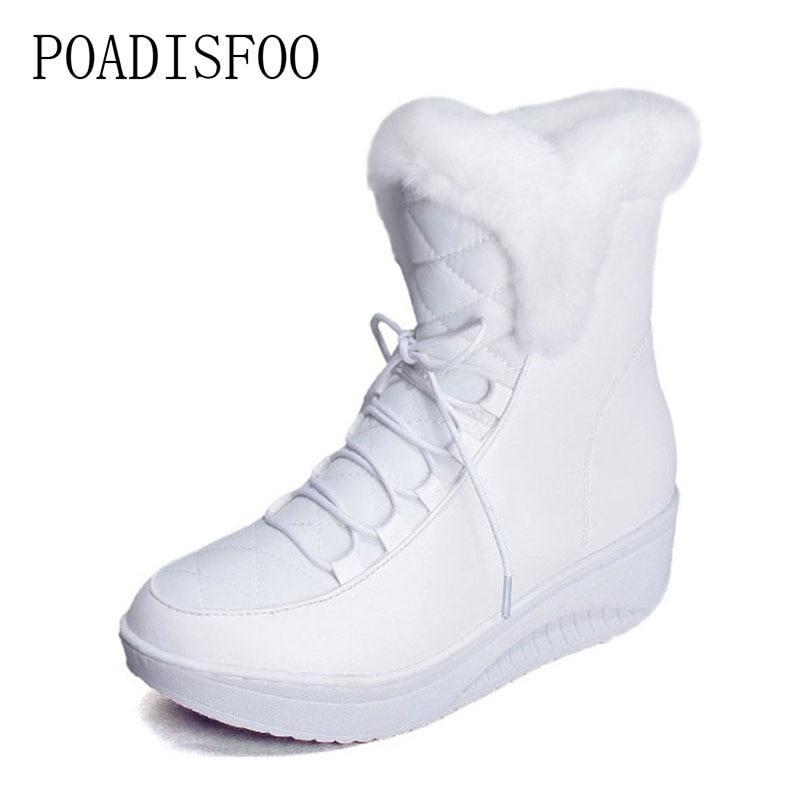 POADISFOO 2017 winter women Boots Waterproof Ankle lace-up Warm boots Round toe Flat heel women shoes snow size 35-40 .TYX-B585 wdzkn winter snow boots female short tube warm boots lace up round toe flat heel ankle boots for women winter shoes plus size 42