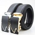 2017 HONERCOO Moda Hombre Correa de Los Hombres Correa de Cuero Genuino Hebilla Automática de Lujo de Oro Negro Correa de Los Hombres Cinturones de Diseño de Alta Quali