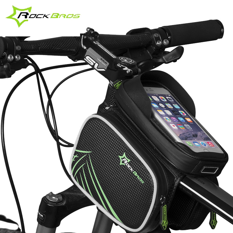ROCKBROS Bicycle Frame Front Bag Head Rainproof Bike For 5.8/6.2 inch Smart phone Touch Screen Double IPouch Pannier RK0012