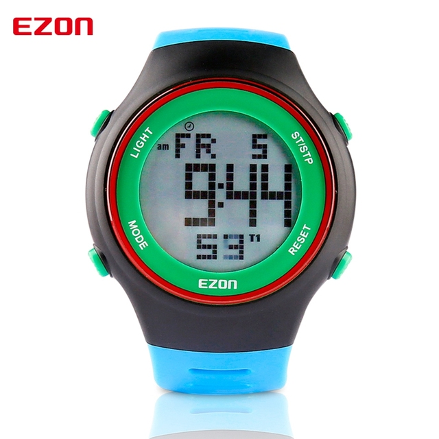 Ezon модные часы ультра-тонкий мужской женщин спортивные водонепроницаемый цифровой дата сигнализация секундомер резина спорт наручные часы