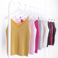 Alpha Women 2015 Summer Icecream Camisole Bruiser Crop Top Glettering Knitted Stretch Slim Tank Top In 9colors