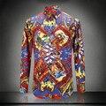 2016 de la Impresión Floral Camisas Para Hombre Marca de Lujo Patrón de Ropa Para Hombre Del Diseñador de la Flor Barroca Real Camisas Slim Fit Barocco Vestido Del Club