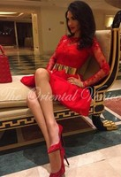 Sexy Red Lace Short Homecoming Dresses With Gold Belt Long Sleeves Junior High Graduation Cocktail Dress
